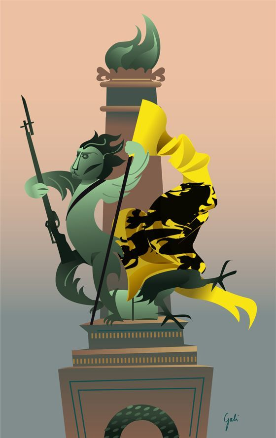 Commémoration partisane : une illustration de Gaëlle Grisard pour le Courrier International. Copyright Gaëlle Grisard http://gaellegrisard.blogspot.be/