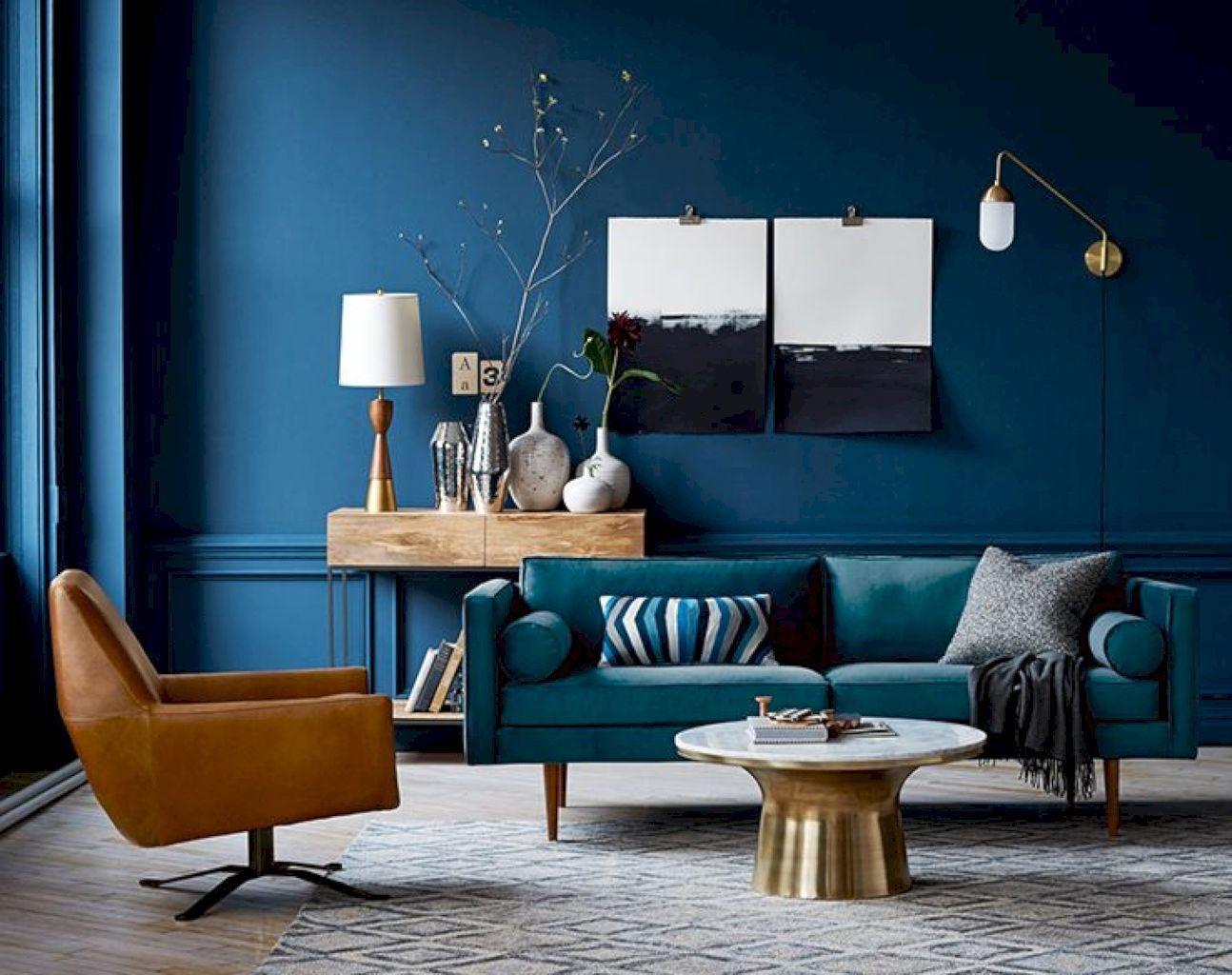 Cool 55 Beautiful Mid Century Living Room Decor Ideas Https Homeideas Co 5340 55 Beauti Blue Walls Living Room Mid Century Living Room Decor Blue Living Room