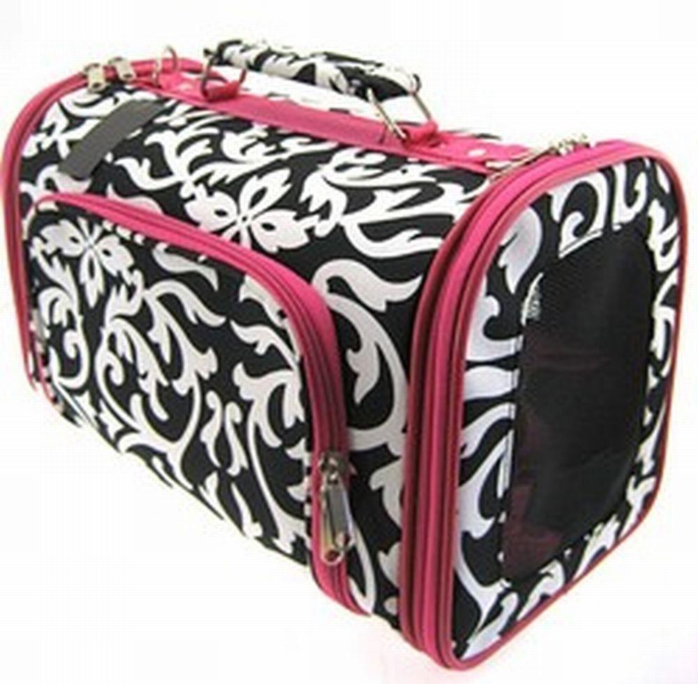 Pink Damask Cat Dog Pet Carrier Softsided Medium, 16inch