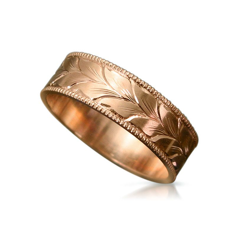 Rose Gold Wedding Band Mens Leaves Engraving Handmade Ring Unique