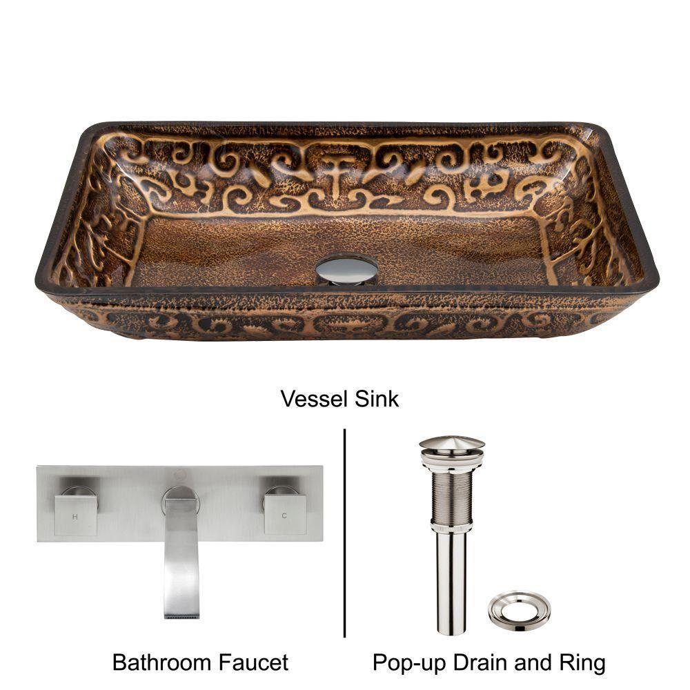 VIGO Rectangular Glass Vessel Bathroom Sink In Golden