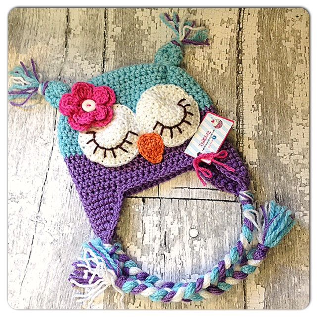 MADE TO ORDER, Crochet Owl hat, Newborn to Lg. Adult sizing, open ...