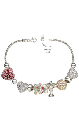 Bracelet with Dione™ Large-Hole Beads, Crystal and Plated