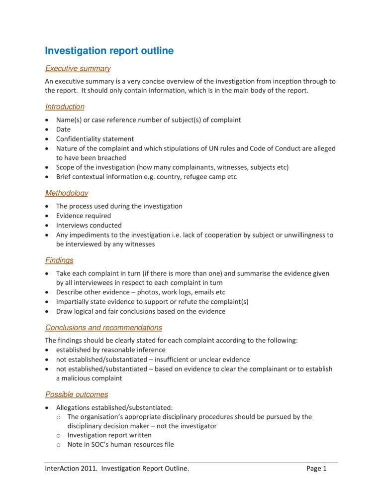 10 Workplace Investigation Report Examples Pdf In 2020 Report