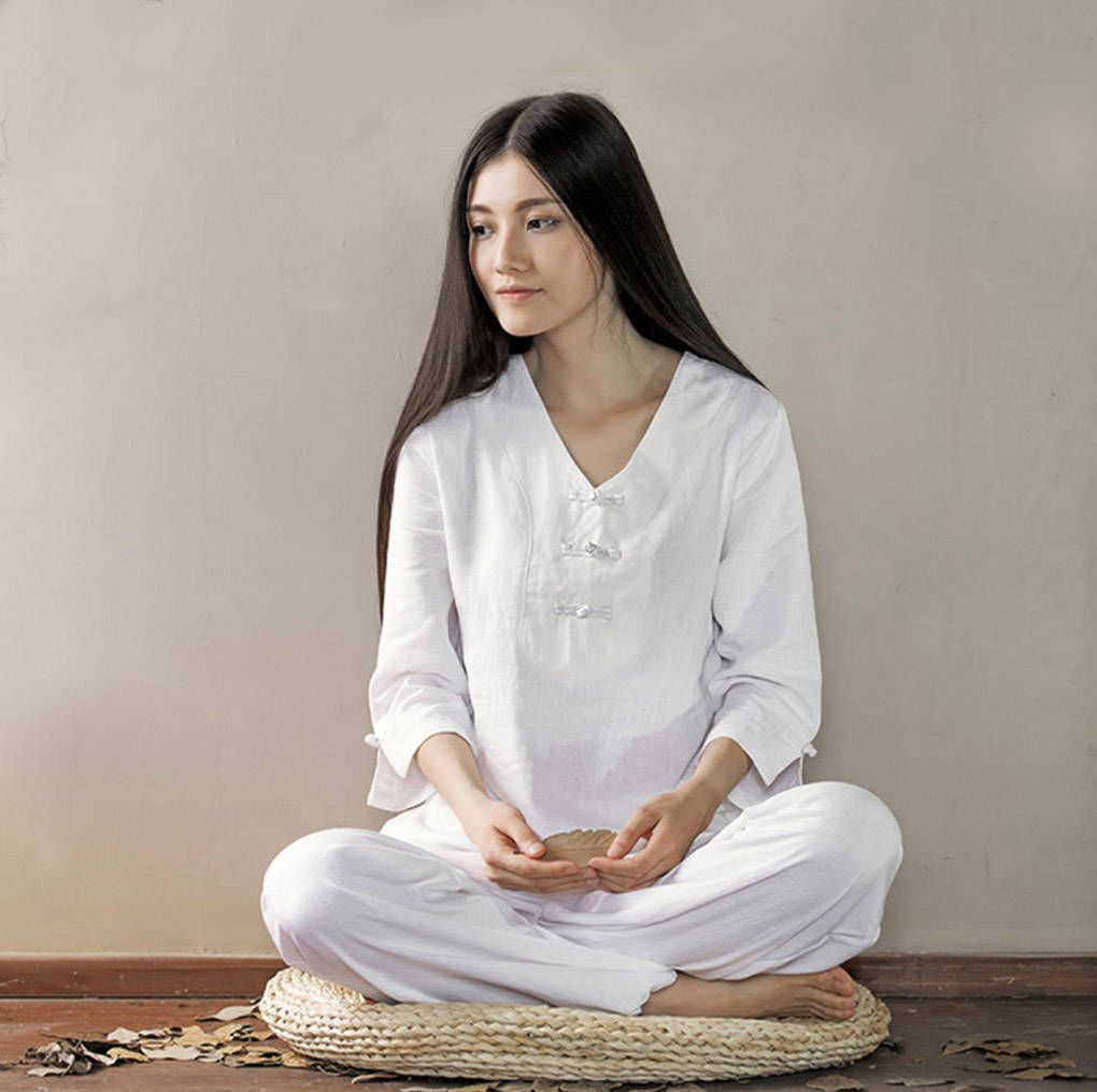 Free Shipping - Women V-Collar Zen Clothes for Yoga, Meditation, Tai ...