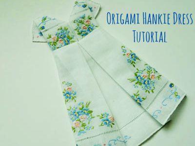 Framed Origami Dress Hankie Tutorial