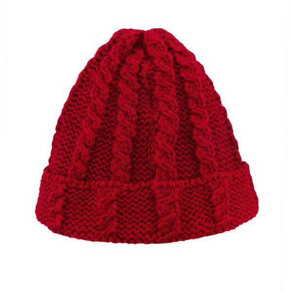 dcc82fe2a88 Yoins Red Cable Knit Beanie Hat ( 14) ❤ liked on Polyvore featuring  accessories