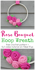 Photo of Rose Bouquet Embroidery Hoop Wreath, Free Crochet Pattern
