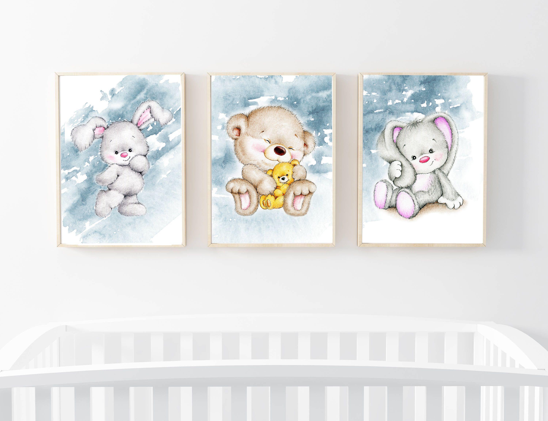 Nursery Wall Art Bunny Wall Art Teddy Wall Art Nursery Wall Decor Set Of Three Nursery Prints Baby Anim