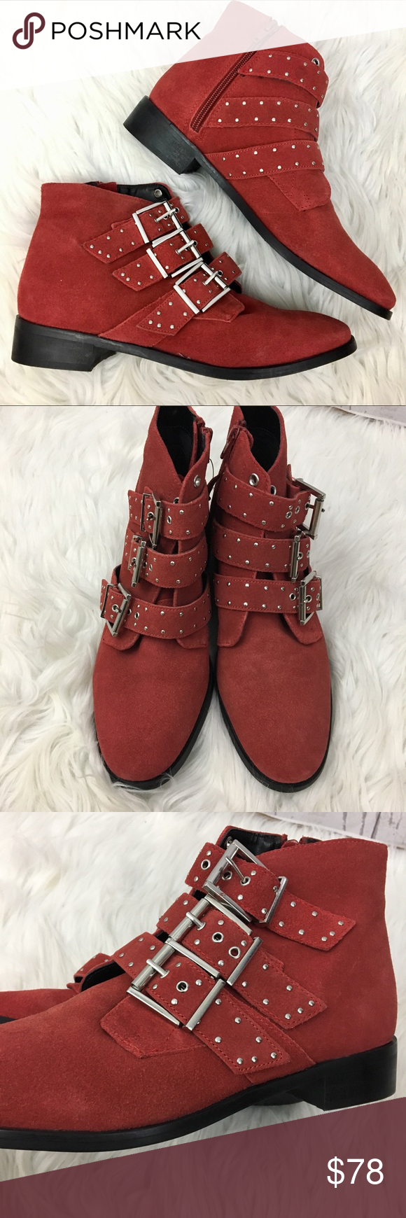 Topshop suede buckle studded red ankle booties nwt my posh closet