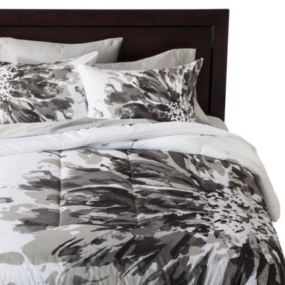 Room Essentials 174 Exploded Floral Comforter Black White