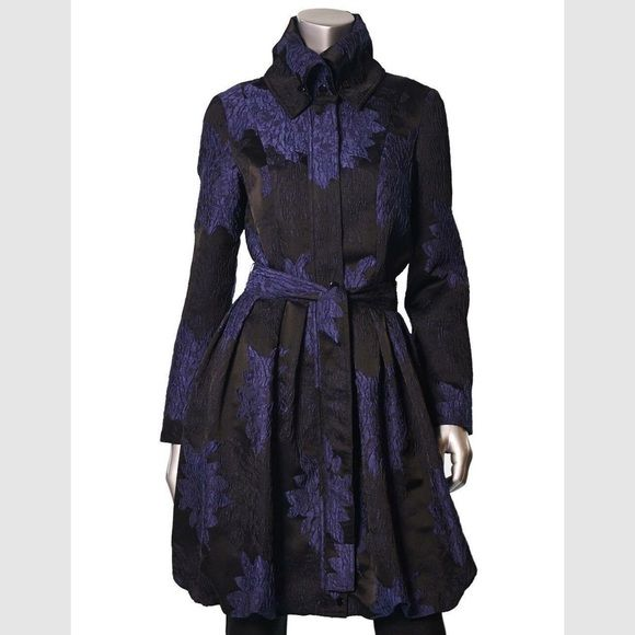 Unique Trench Coat Purple and black flower print coat . Very fashionable . Amazing material quality .But it is a bit big for me .. Got it for 280$ brand new never worn with tags . Samuel Dong Jackets & Coats