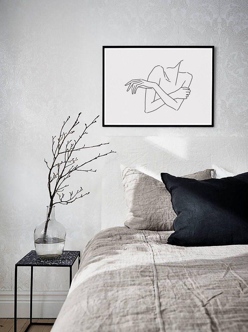 sketch #30 LINE ART PRINT minimalist line art woman body lines Self drawing interior design minimal decor home artwork A4 limited