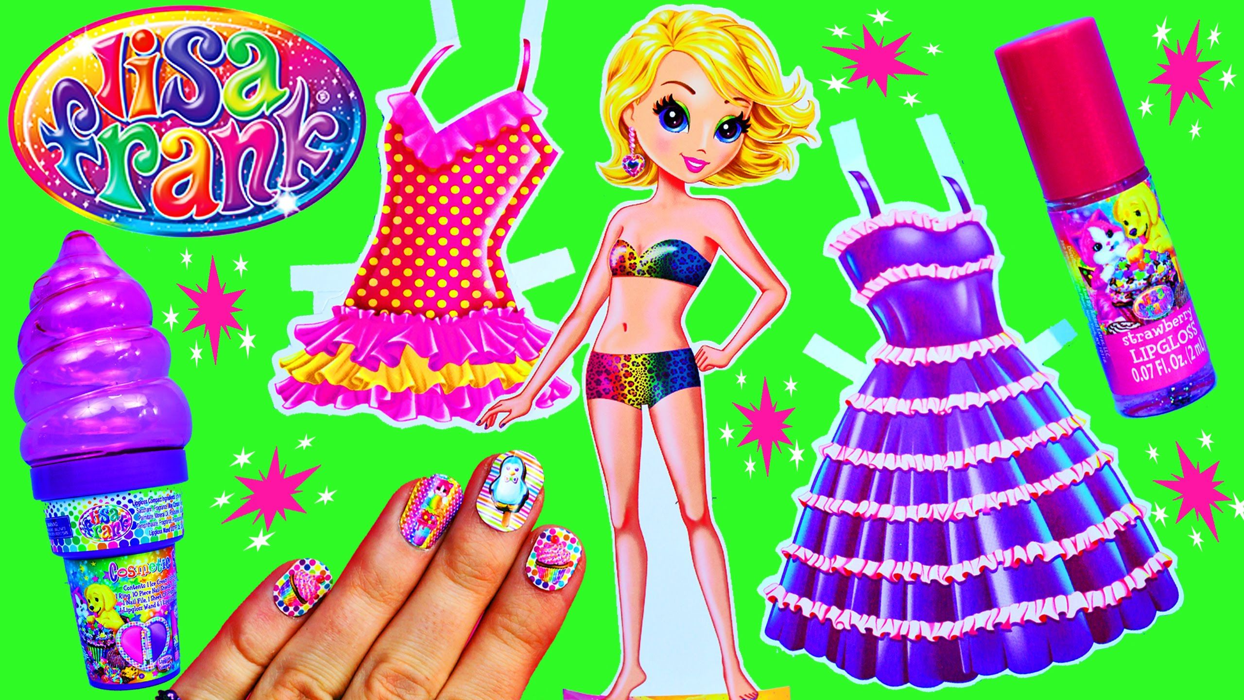 LISA FRANK Toys Paper Dolls Dress Up Stickers & Surprise Ice Cream