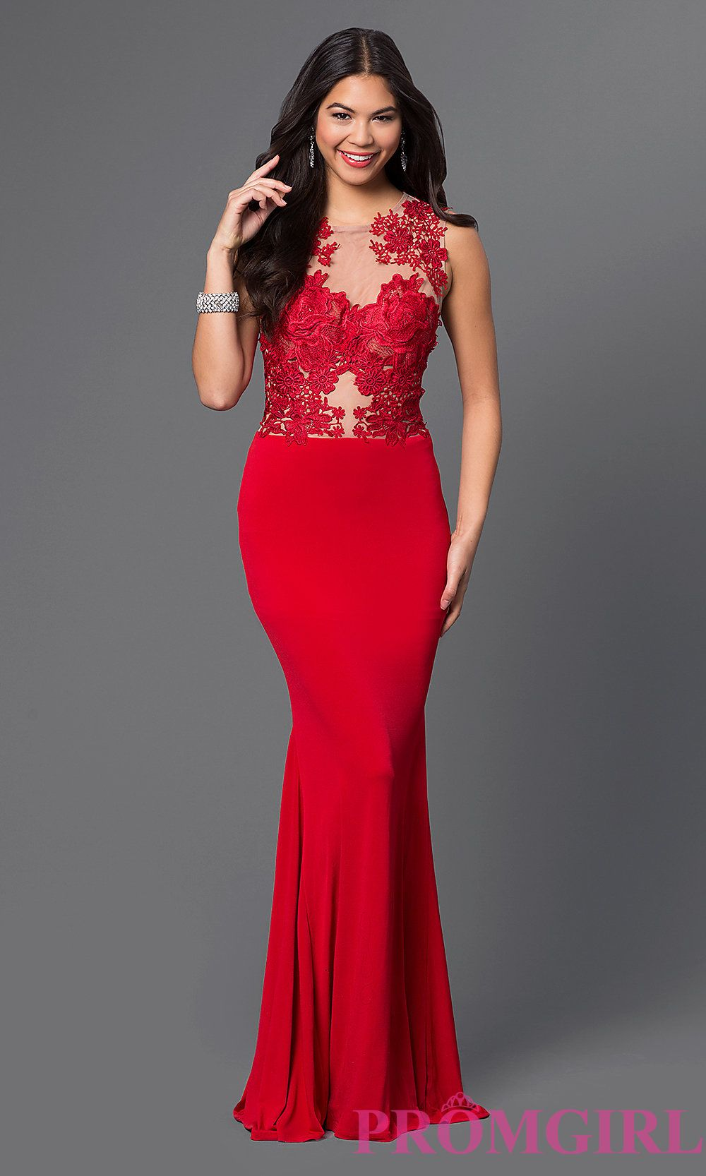 Sleeveless Evening Gown with Lace Bodice CQ-3661DK | Red-y for ...