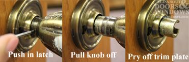 The trick to removing door knobs that don\'t have visible screws ...