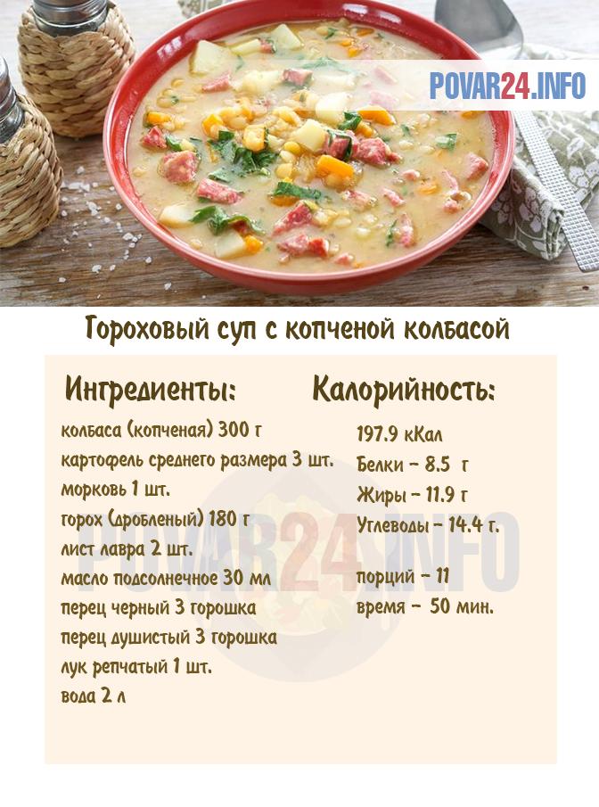 калорийность супа горохового супа с