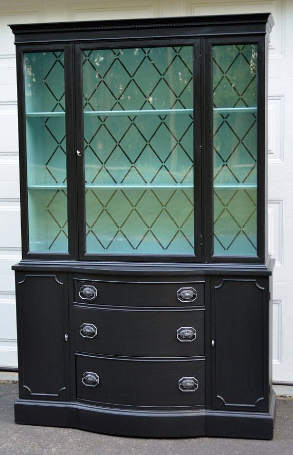Painted Bow-Front Black u0026 Teal Blue China Cabinet/ Hutch/ Breakfront/  Bookcase