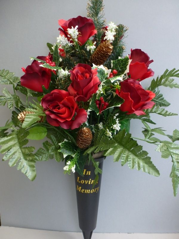 Christmas Spike Vase With Red Roses Amp Spruce Spary