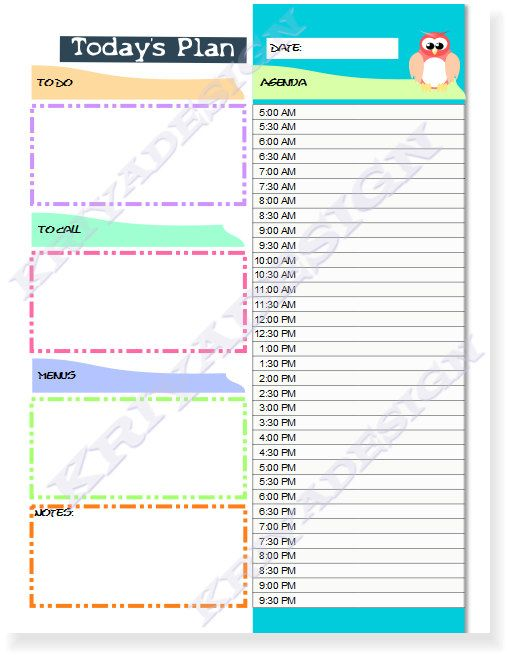 Day Planner Organizer Pdf Printable Daily Planner By Kriyadesign