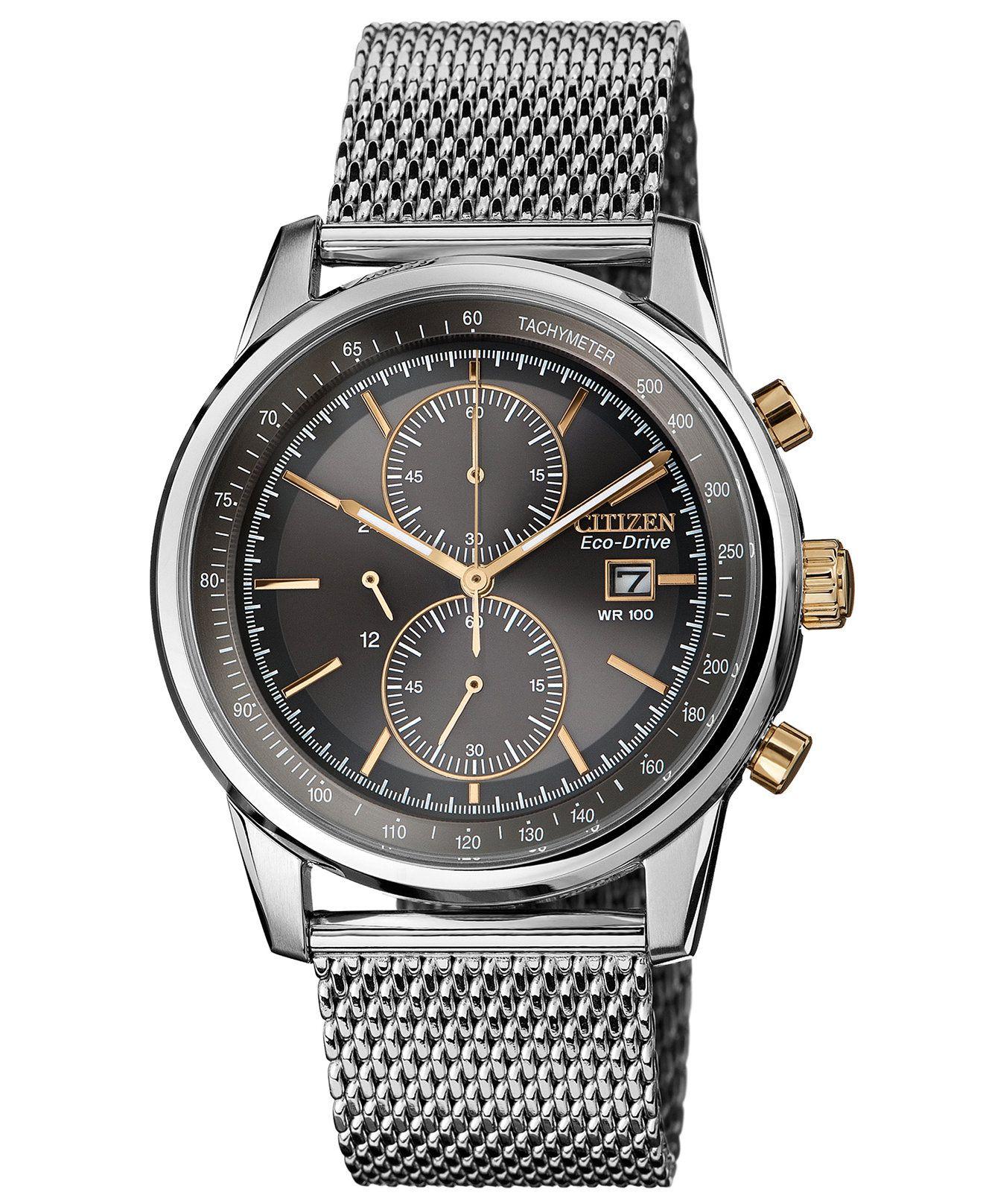 Citizen Men's Chronograph Ecodrive Stainless Steel Mesh Bracelet Watch  42mm Ca033652h