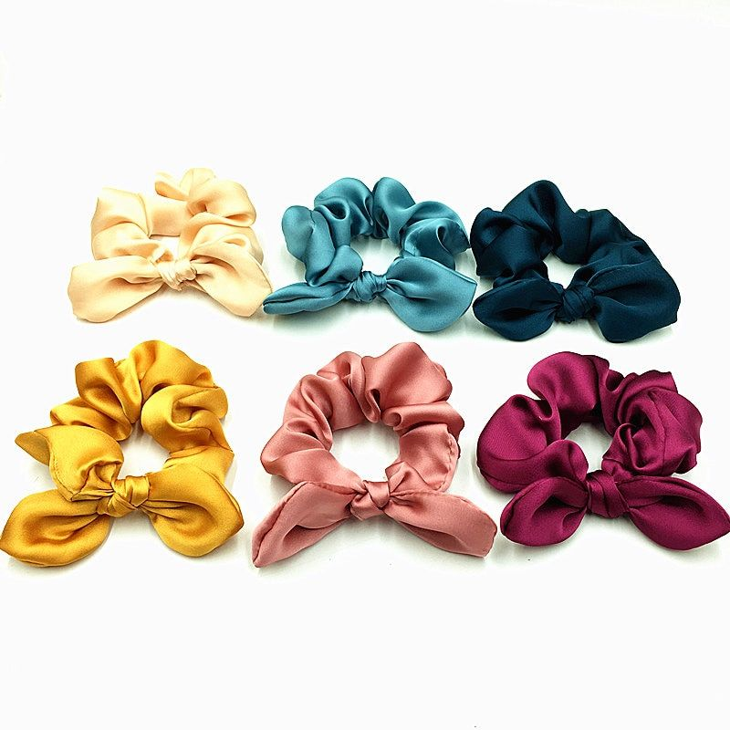 Set Of 10 Ponytail Scrunchies New In Holder