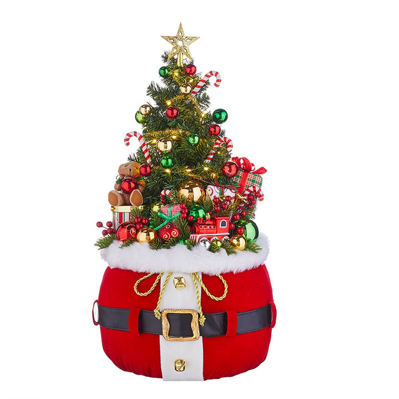 Raz 32 Large Lighted Santa Belt Bag With Tree And Toy Christmas Decoration Decorating With Christmas Lights Christmas Decorations Indoor Christmas Decorations