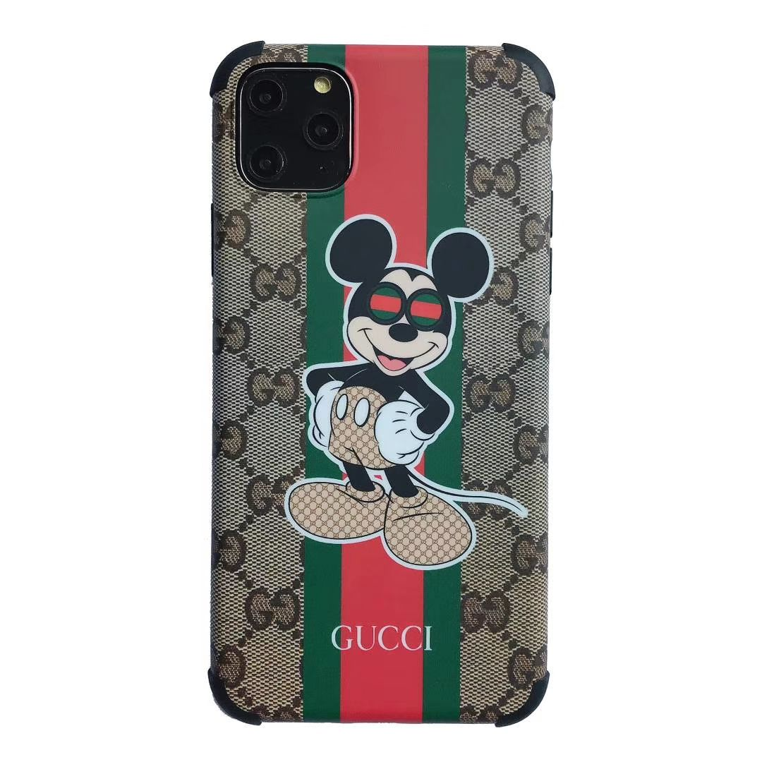 2652 classic gucci mickey leather back case for iphone