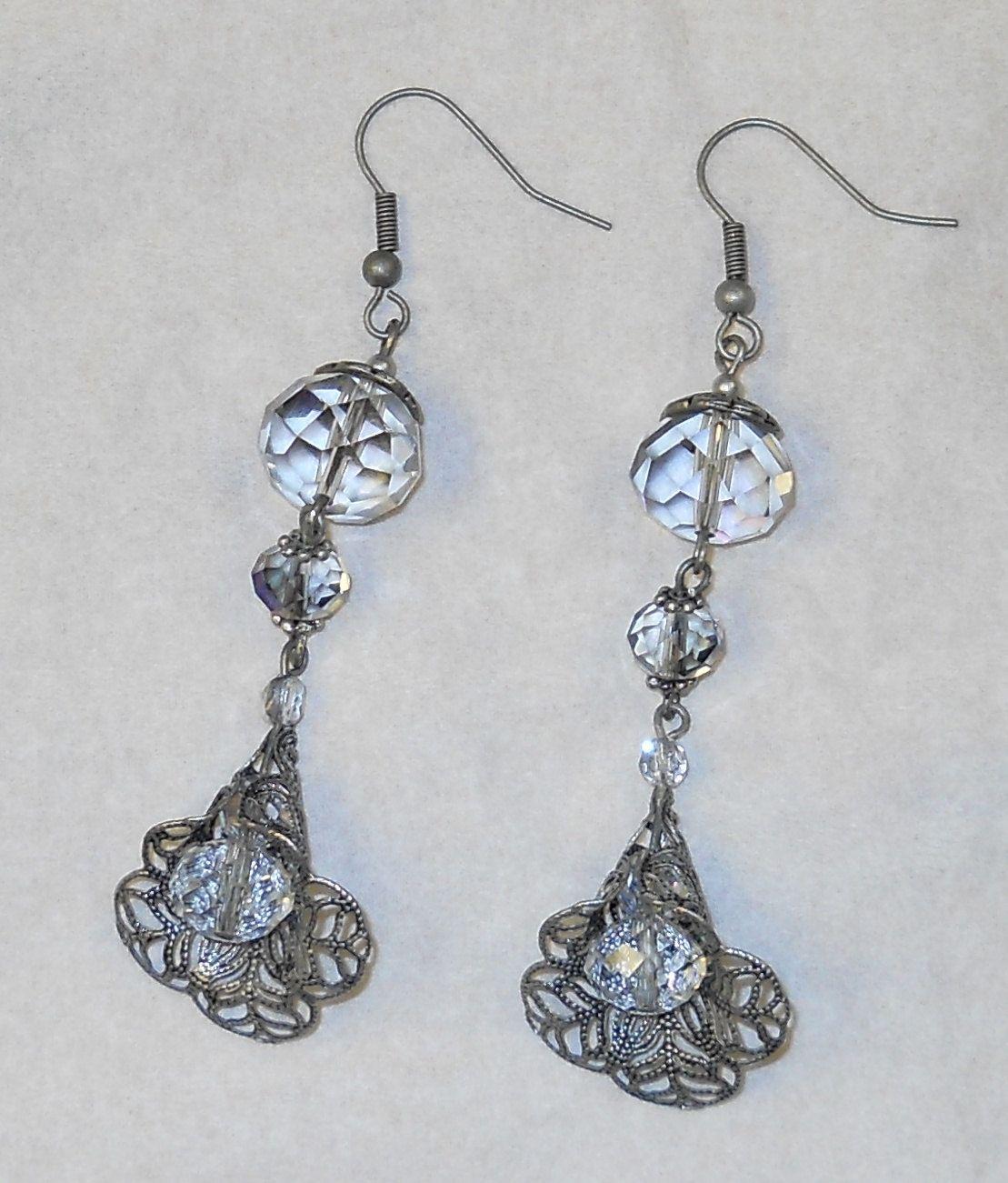 """Victorian Filigree """"Blooming Crystal"""" Flower Earrings"""