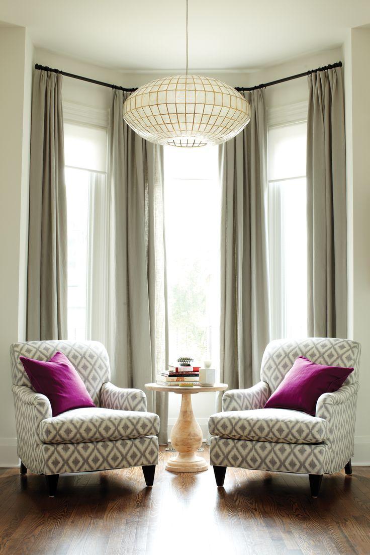 Grey curtains and purple pillows | un petit appartement à Paris ...