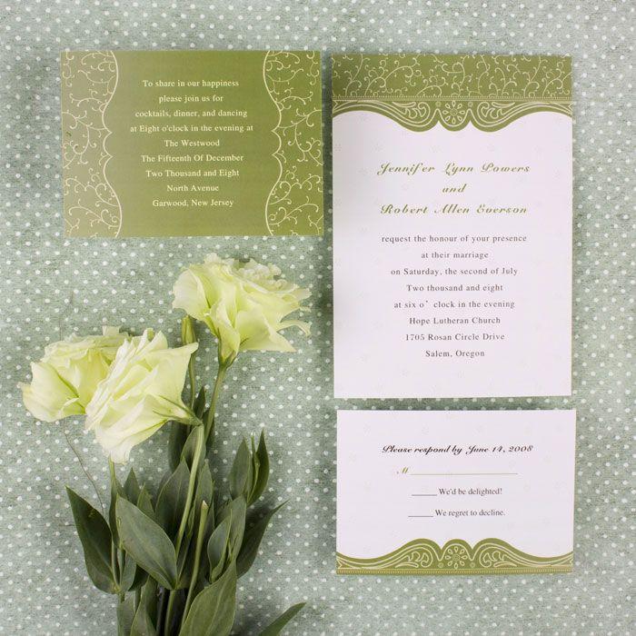 Discount Country Green Swirl Summer Wedding Invitation Card EWI075 ...