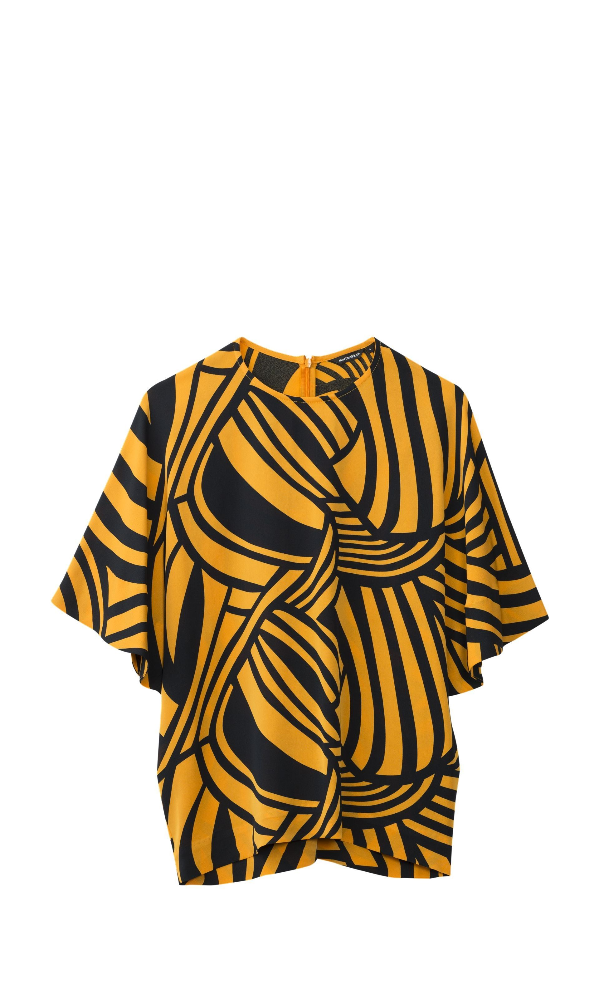 This loose shirt features the Pikku Salme print and is made of a lightweight viscose-silk blend. It has a hidden rear zip closure, wide drape sleeves to the elbow, and a straight cut to the hip hemline.