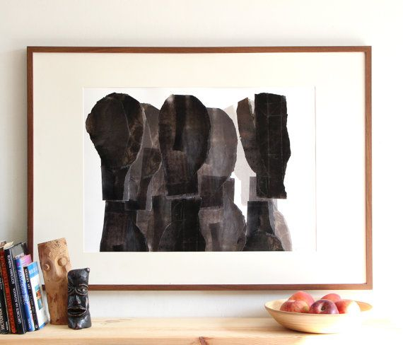 Abstract Mixed Silhouettes Statement Black And White Art Print Figurative Contemporary Art Poster Archival Print With Images Large Art Prints White Art Poster Prints