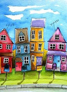 ACEO Print Watercolor Folk Art illustration landscape whimsical home neighbors