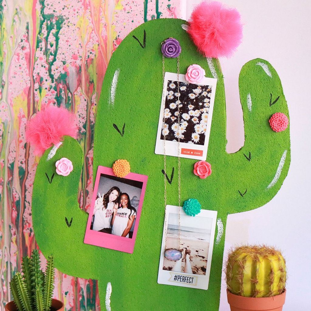 Make This Trendy Colorful Cactus Bulletin Board To