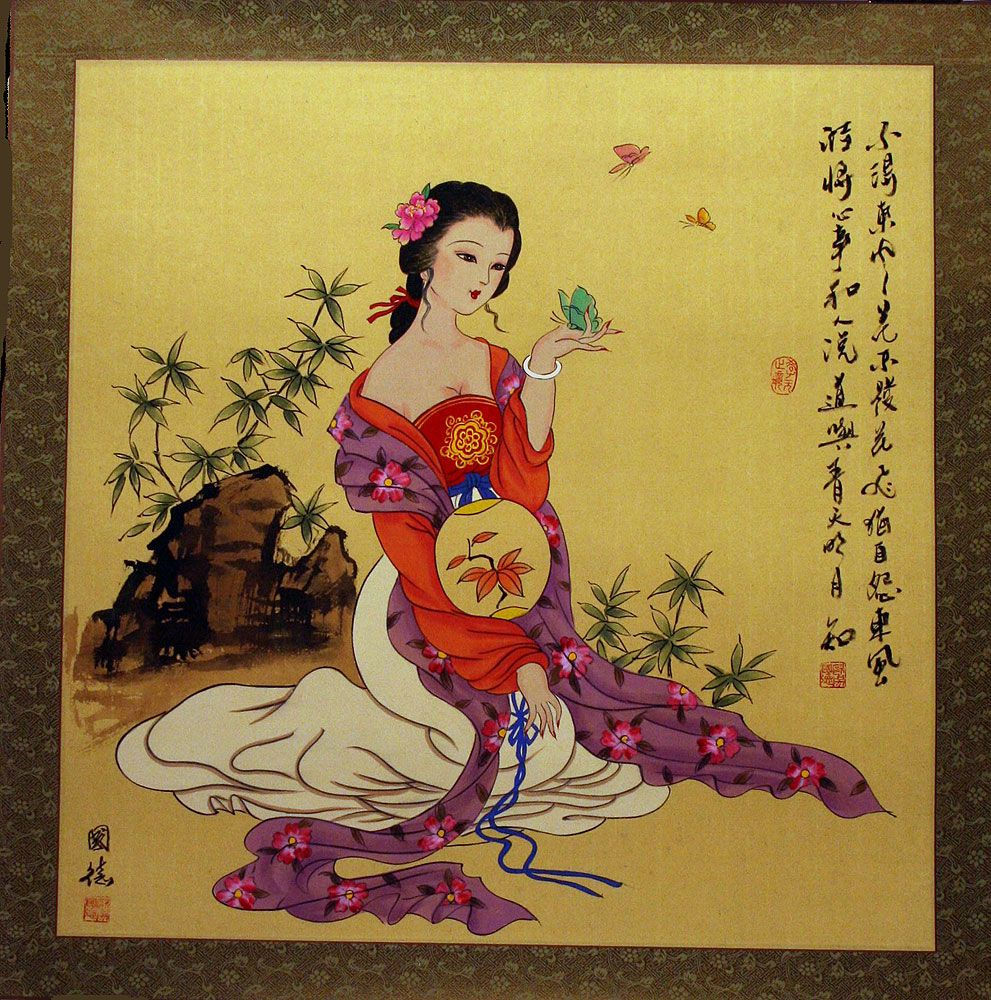 Large Antique-style Chinese Woman Painting In 2019