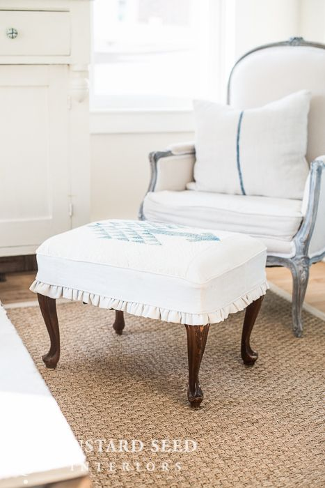 ottoman slipcover tutorial - Miss Mustard Seed | Sofas y sillones ...