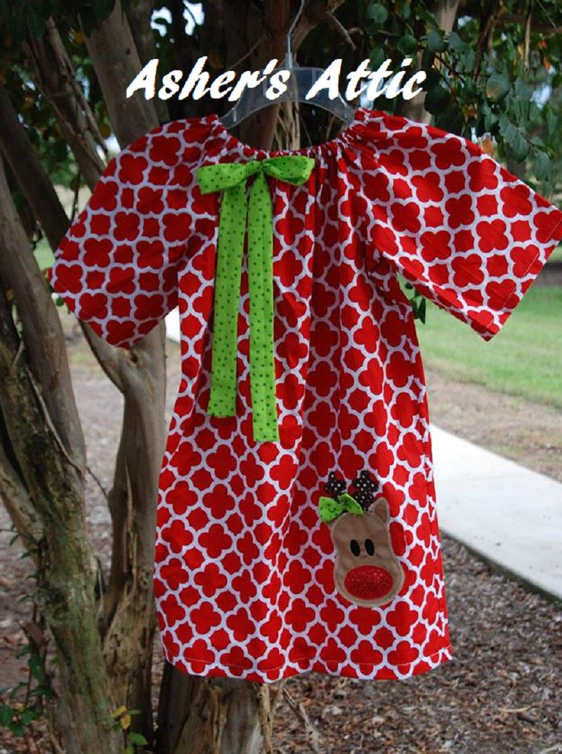Girls Red Quatrefoil Christmas Dress Long Sleeves Peasant Style Girls Green Quatrefoil Christmas Dress with Christmas Design matching bow by AshersAttic on Etsy https://www.etsy.com/listing/208789805/girls-red-quatrefoil-christmas-dress