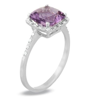 Cushion-Cut Amethyst Ring in 14K White Gold with Diamond Accents