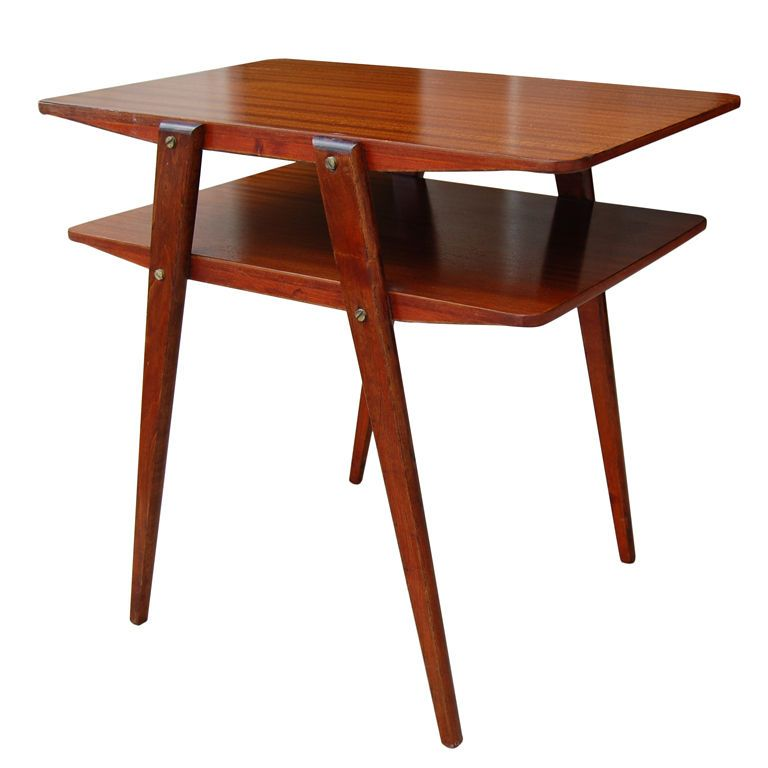 Two Tier MId Century Modern End Table In Ribbon Mahogany