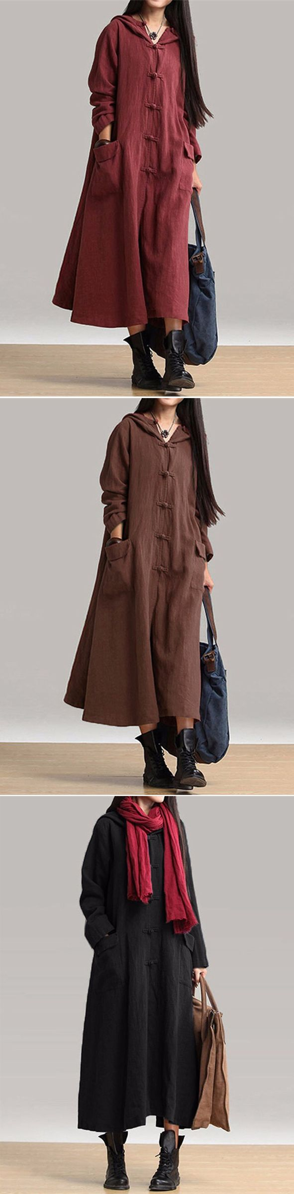 Us gracila women vintage plate buckles long sleeve hooded
