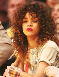 Latest 2012 2013 Rihanna Long brown curly hairstyles haircuts hairstyles trends tips