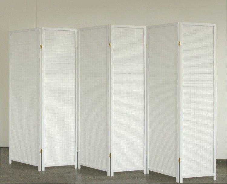 Paravent White Wood 6, dekorativer Holz Paravent weiß, Paravents - glastür badezimmer blickdicht