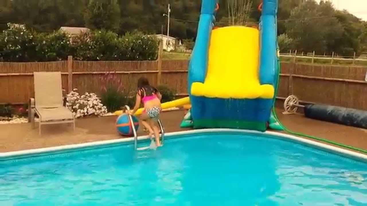 More fun on Crazy inflatable pool slide! Banzai Blaster - inground