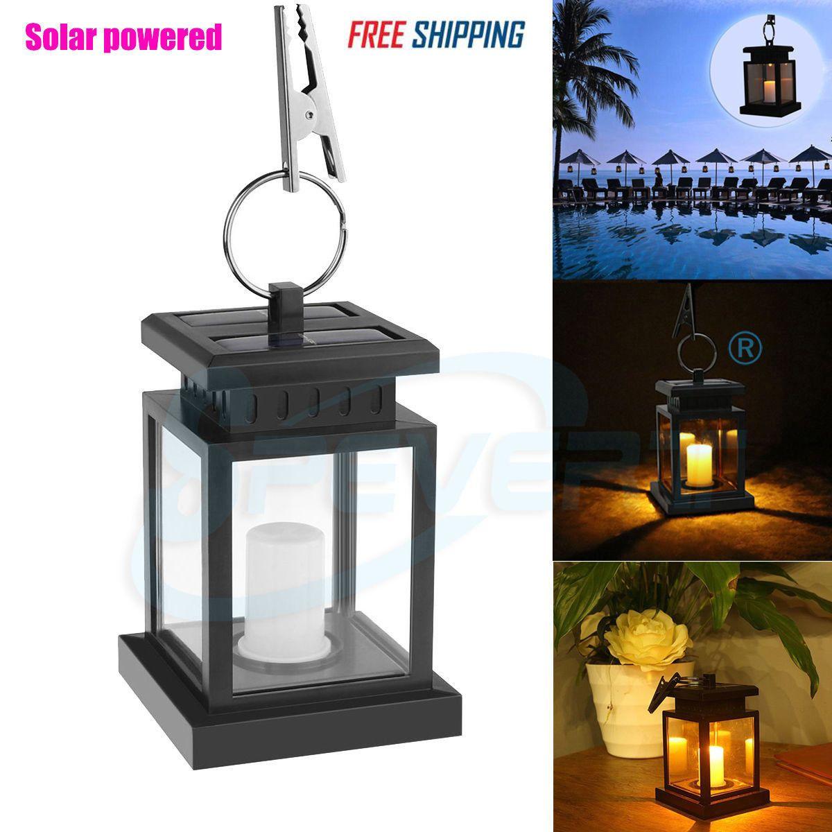 Solar Powered Led Candle Light Table Lantern Hanging Garden