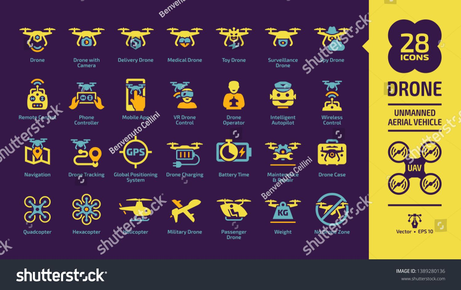 Drone unmanned aerial vehicle icon set on a violet