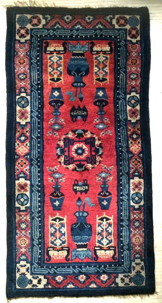 Antique Bath Mat Chinese Scholar Motif Wool Rug Art Deco Period