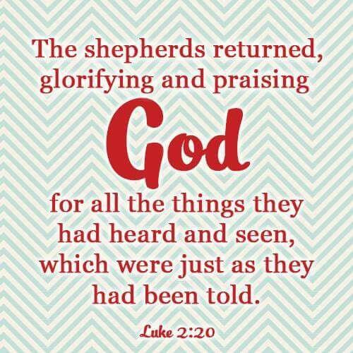Luke 2:20   LUKE   Christmas scripture, Billy graham library