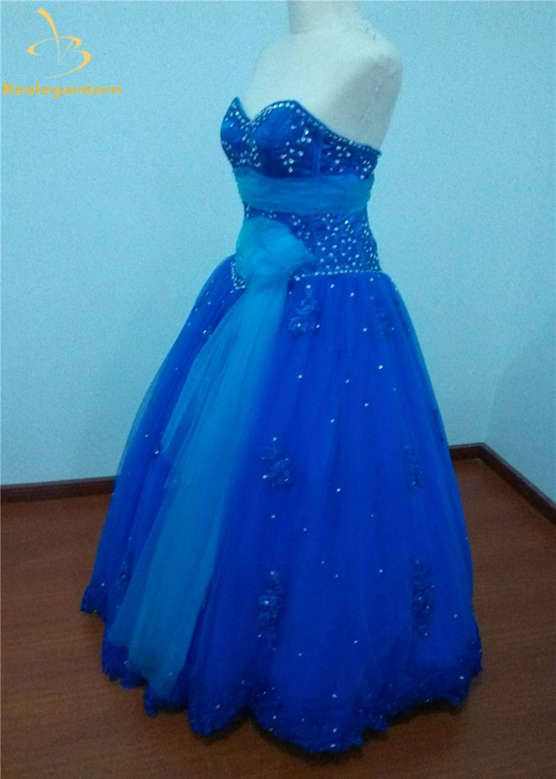d4214673fa5 Bealegantom Royal Blue Ball Gowns Quinceanera Dresses Beaded Appliques  Tulle Lace Up Sweet 16 Dresses Vestidos