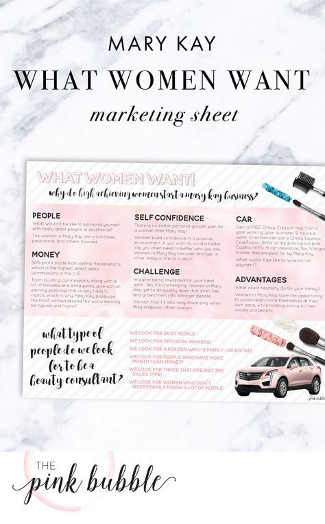 Mary Kay What Women Want Marketing Sheet Find It Only At Www Thepinkbubble Co Mary Kay Marketing Mary Kay Gifts Mary Kay Recruiting